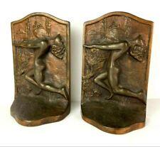 Art Deco Nude Goddess Bookends Copper Stamped 104 Circular Hallmark Arts Crafts
