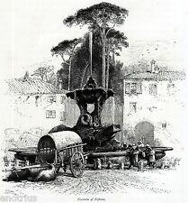 ROMA: FONTANA DEI TRITONI.Piazza Bocca della Verità.Rom.Rome. Stampa Antica.1878