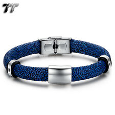 TT Royal Blue Stone Leather 316L Stainless Steel Bead Bracelet Blue CZ (BR229F)