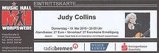 Ticket JUDY COLLINS Worpswede Music Hall | gebrauchte Eintrittskarte vom 19.5.16