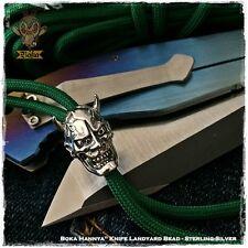 Boka Hannya Skull Paracord Lanyard Bead Charm Sterling Silver EDC Knife Bracelet
