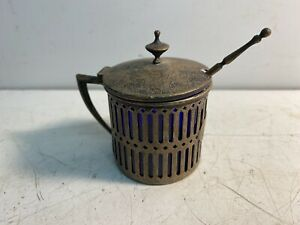 Beautiful Rare Antique Sterling Silver Sugar Bowl with Blue Glass Inner & Spoon