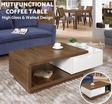 Modern High Gloss Coffee Table Drawer Adjustable Room Furniture Tea Storage