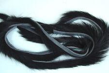 3 x BANDE de LAPIN NOIR montage mouche peche peau zonker strip skin black rabbit