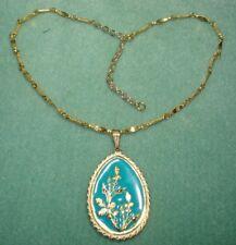 Vintage Enamel Easter Egg Spring Flower Decorative Chain Necklace Gold Plated