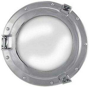 Solid Porthole Mirror to Open - Made of Brass, Nickel Plated And Mirror Glass
