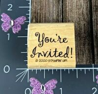 Stampin Up Rubber Stamp You're Invited 2000 Script Party Celebrate Shower #B126