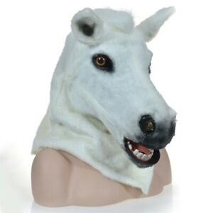 White Horse Head Mascot Costume Can Move Mouth Head Halloween Outfit Cosplay