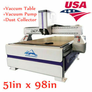 """51"""" x 98"""" Ad Woodworking CNC Router 3KW Spindle Vaccum Table, Dust Collector-USA"""