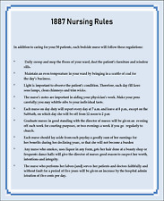 Miniature  Victorian 1887 Rules for Nurses Sign - Dollhouse 1:12 scale