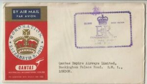 Stamp 1953 Ceylon on QANTAS QE2 Coronation flight cover to London cachet front