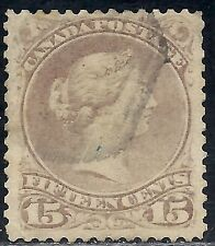 CANADA: SCOTT 29b USED LC FINE - 1868 15c RED LILAC LARGE QUEEN VICTORIA HEAD