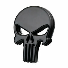 3D Black Plating Metal Punisher Car Motorcycle DIY Skull Emblem Tail Badge Decal