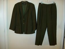 Dana Buchman lined green wool blend pant suit size 16