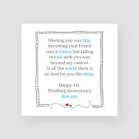 Personalised Handmade Fate Wedding Anniversary Card - Blue, 1st, 10th, ANY YEAR