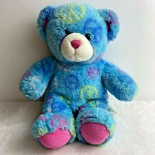Build a Bear Peace Sign Teddy Plush Stuffed Animal Turquoise Blue Pink 11""