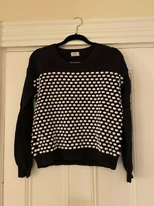 WALLACE Madewell Navy and White Pom Pom Sweater Size M