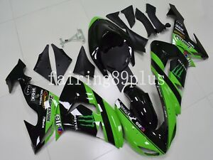 N08 Green Black ABS Injection Fairing Kit Fit for Ninja ZX10R 2006 2007