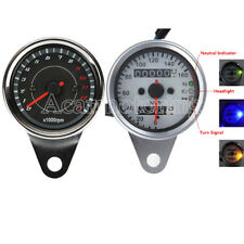 Universal Motorcycle 12V LED Dual Odometer Speedometer Tachometer Speedo Meter