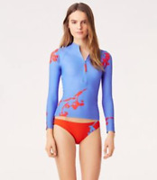 Tory Burch Blue Talisay Surf Shirt Rashguard XS Floral 0 2 NWT