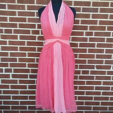 Maggy London Women's Size 8 Dress Coral Crepe 100% Silk Halter Two Tone Pink