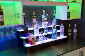 "36"" 3 Step Tier LED Lighted Shelves Illuminated Liquor Bottle Display FREE SHIP"
