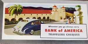 Vintage Blotter advertising --Bank of America, Travelers Cheques - design 2