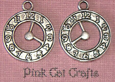 5 x Tibetan Silver CLOCK POCKET WATCH CUT OUT ALICE IN WONDERLAND Charms Pendant