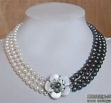 3rows 7-8mm white&black Freshwater Akoya Pearl Necklace