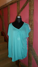 Size 14 Turquoise Fronted Top with Multi Coloured Back from M&S Per Una Range