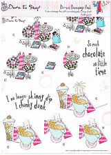 Docrafts Born to Shop Bubbles decoupage 8 sheet pack Chocolate biscuits shoes