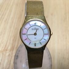 Vintage Skagen Denmark Lady Gold Tone Thin Analog Quartz Watch Hours~New Battery