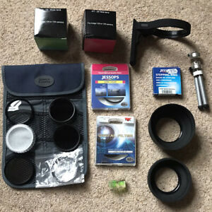Mixed Vintage Photography Lens Filters, Hoods, Collar, Tripod & Filter Case