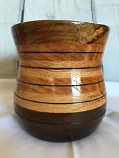 """GORGEOUS SOLID WOOD VASE 5"""" ROUND 6"""" Tall HANDMADE BY ARTIST Signed Felt Bottom"""