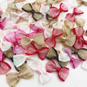 60pcs Mini organza Ribbon Flowers Bows Gift Craft Wedding Decoration Upick