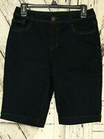 Nine West Jeans Womens Dark Blue Stretch Denim Missy Size 6 Bermuda Shorts