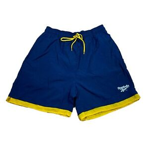 Vintage Double Layer Reebok Navy & Yellow Men's Athletic Shorts Size Small
