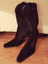Bought for £550! Stuart Weitzman Heel Boots UK Size 8 Black Brown Satin Lace