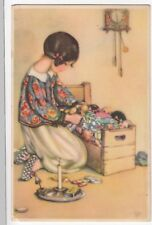 People; Art Deco Primus Pastella PPC, Unposted, Young Girl Putting Toys To Bed