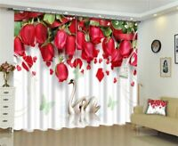 Luxury Blackout 3D Window Curtains  For Living Room Bedroom Drapes Red Rose