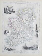 c1854 IRELAND Genuine Antique Map by Rapkin FREE POSTAGE