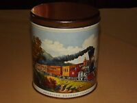 VINTAGE CURRIER & IVES AMERICAN EXPRESS TRAIN  DECOWARE TIN CAN EMPTY