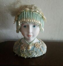 "Enesco Bisque Porcelain Lady Head Plays "" Younger Than Springtime"" Music Box"