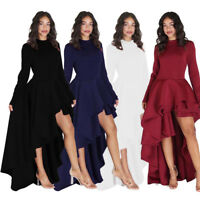 Fashion Women Long Sleeve High Low Peplum Dress Bodycon Casual Party Club Dress