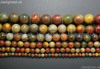 Natural Picasso Jasper Gemstone Round Beads 4mm 6mm 8mm 10mm 12mm Strand 16""