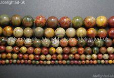 "Natural Picasso Jasper Gemstone Round Loose Beads 4mm 6mm 8mm 10mm 12mm 14mm 16"""