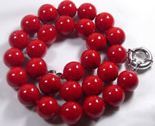 Natural Red Coral Color Shell Pearl 12mm Beads 18Inch Necklace JN1744