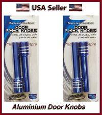 New Set Blue/Chrome Finish Metal Billet 4 Door Lock Knobs Auto/Car/Truck/SUV/RV