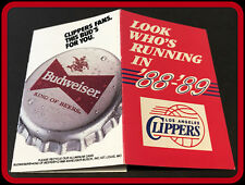 1988-89 LOS ANGELES CLIPPERS BUDWEISER BEER BASKETBALL POCKET SCHEDULE FREE SHIP