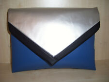 EXTRA LARGE ROYAL BLUE, BLACK & SILVER faux leather envelope clutch bag BN.